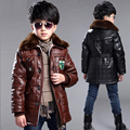 Boys Coat 2016 Winter New PU Leather Solid Black Thick Child Casual Jacket For Boys Spring Autumn Kids Jackets And Coats 5-14Y
