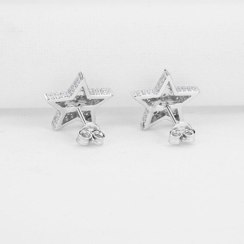 AINUOSHI luxe 925 en argent Sterling boucle d'oreille pour les femmes de mariage Halo étoiles Stud boucle d'oreille bijoux cadeau pendientes plata de ley mujer - 4
