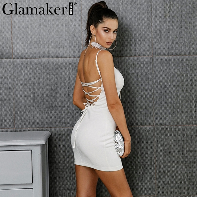 Glamaker Backless Dress Glamaker Suede lace up sexy short dress women Backless bodycon fitness  party sundress Wrap sleeveless elegant