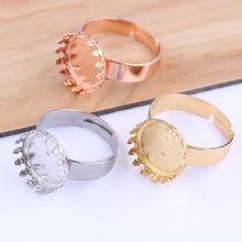 onwear 10pcs Rose gold stainless steel blank 12mm cabochon ring base settings diy cameo bezel trays for jewelry making 10pcs fit 12mm stainless steel cameo glass cabochon metal bezel french lever blank base earring back for diy jewelry findings