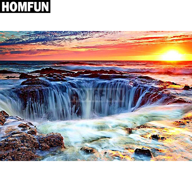 Home & Garden Brave Homfun Full Square/round Drill 5d Diy Diamond Painting sunset Waterfall Embroidery Cross Stitch 5d Home Decor Gift A03774 Jade White