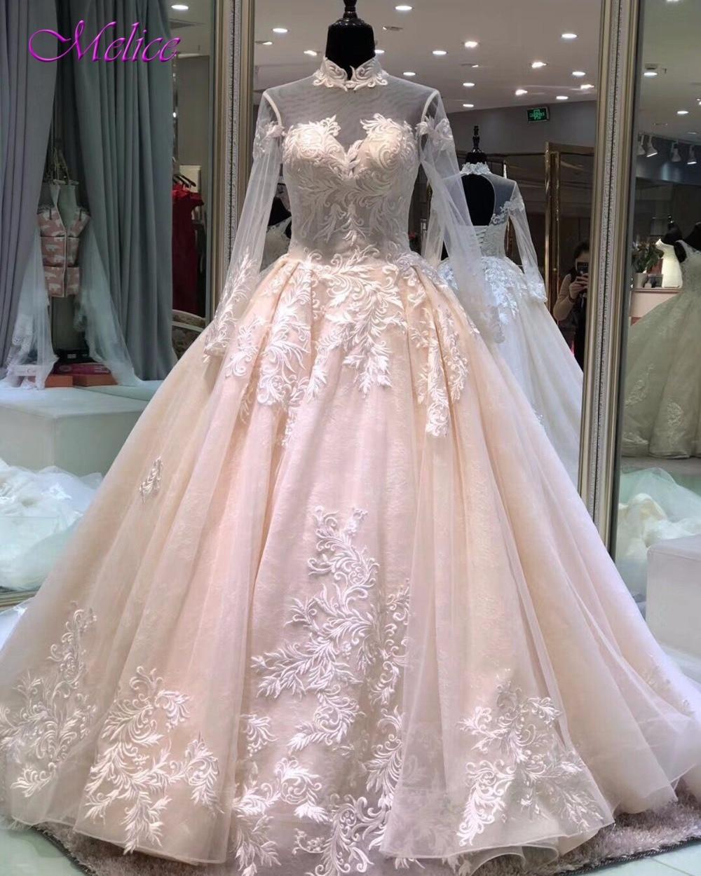 Melice Gorgeous Appliques Court Train Ball Gown Lace
