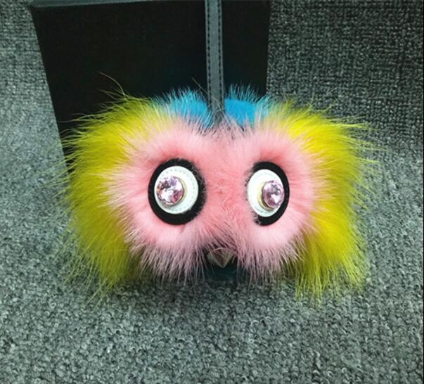 High quality cool Monster Fur Pom Pom Keychain Luxury Car key chain Women handbag Bag Charm Pendant of Mink fur bird key-rings