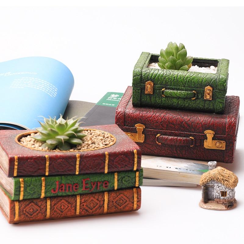 2pc set Creative Resin Flowerpot Book Succulent Plant Pot Suitcase Flower Pot Home Garden Decor Bonsai