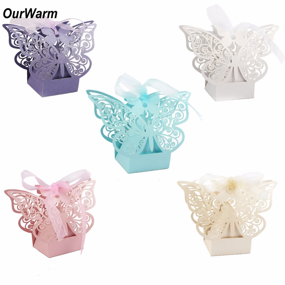 ᐂOurWarm 100Pcs Wedding Favors Boxes 5*5*8cm Paperboard Butterfly ...