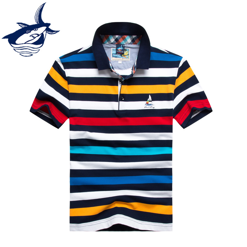Tace Shark Brand Plus Size Short Sleeve Turndown Buttoned Collar Tees Embroidered Contrast Color Striped   Polo   Shirt for Men