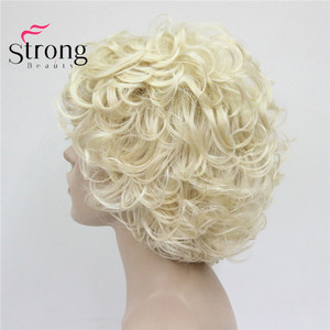 Image 3 - StrongBeauty Short Soft Shaggy Layered Cute Blonde Curly Wavy Short Synthetic Womens daily full Wig
