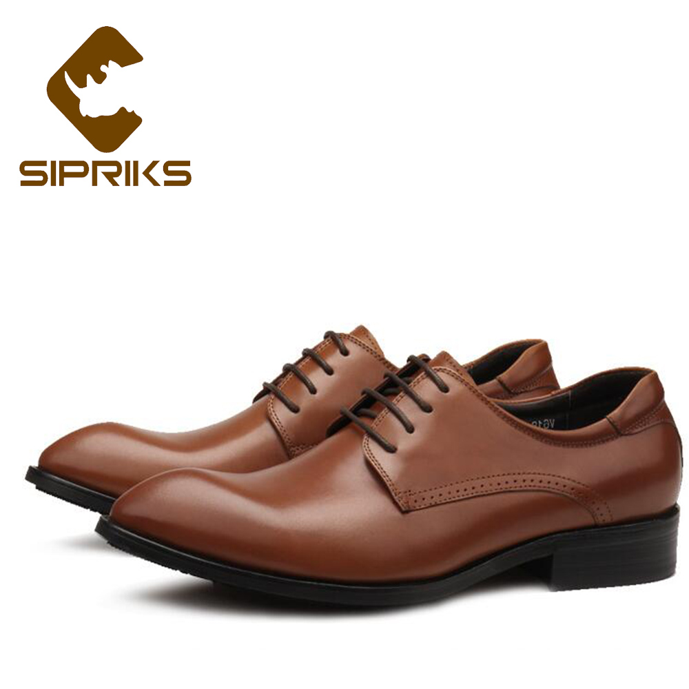 Sipriks Luxury Mens Formal Shoes Genuine Leather Tan Derby Shoes Pointed Toe Business Work Office Shoes Mens Dress Leather Shoes sipriks luxury mens braided leather shoes elegant mens woven derby shoes genuine leather dress shoes boss official business work