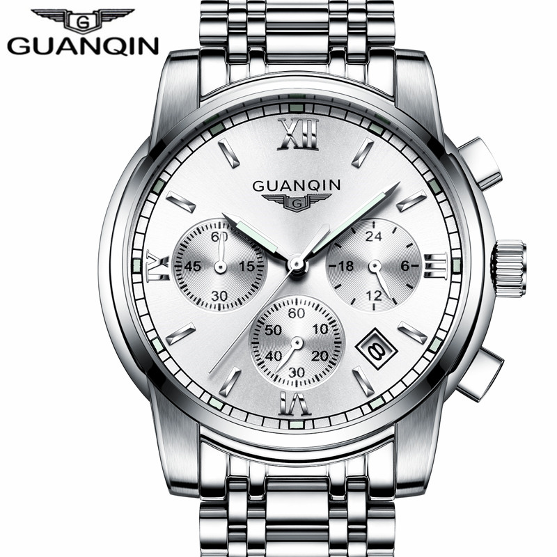 New Luxury Watch Brand GUANQIN Quartz Watch Men Steel Fashion Clock Male Waterproof Watches With Calendar Chronograph Luminous цена и фото