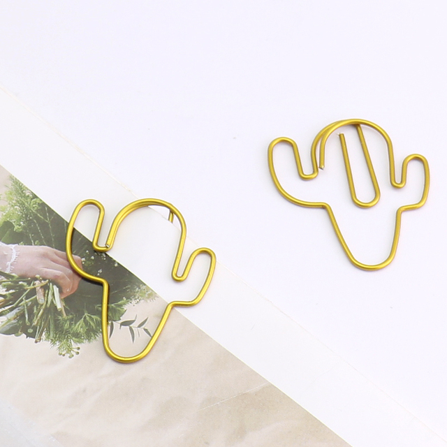 20pcs/lot Gold Cactus Shaped Paper Clips
