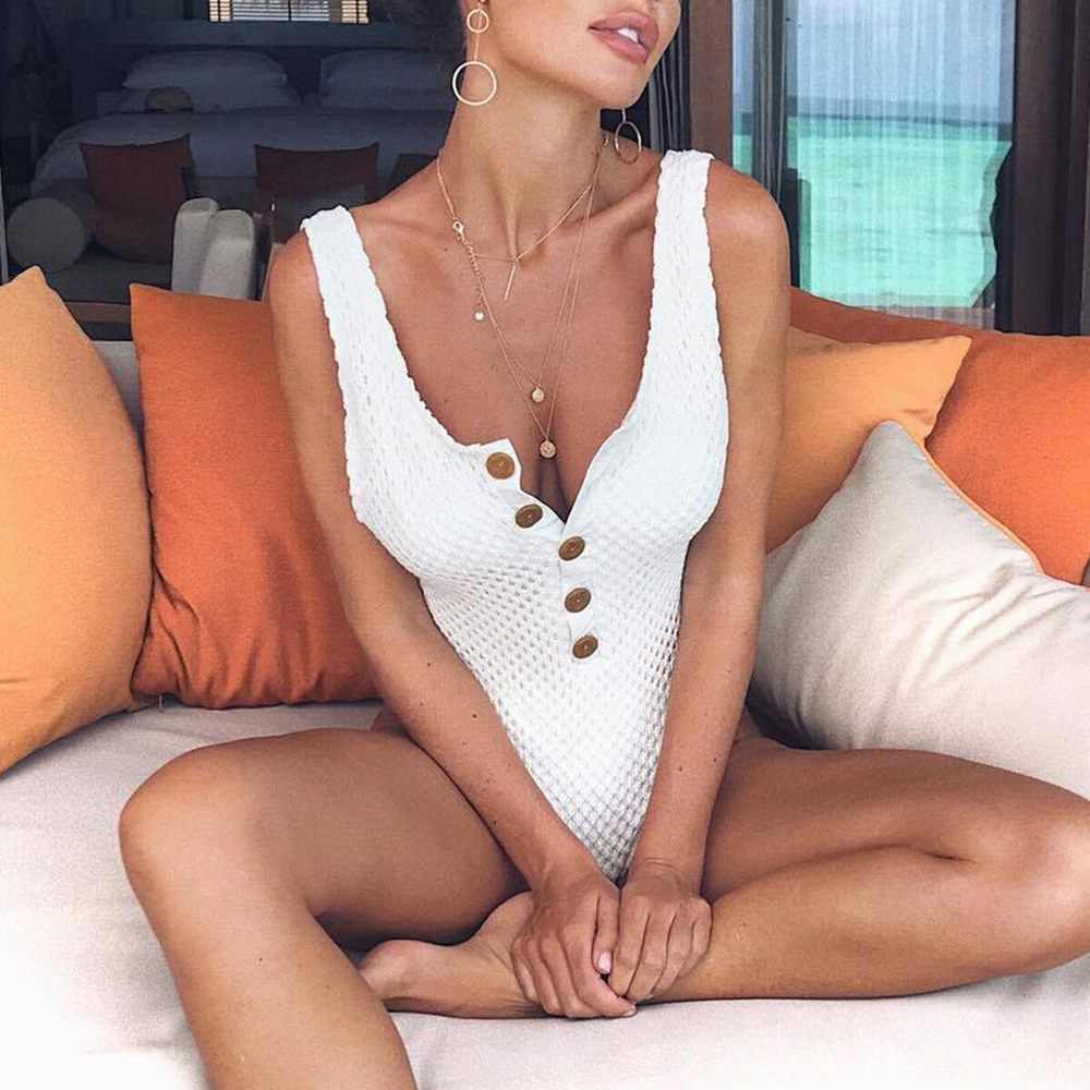 Black White High Cut One-Piece Swimsuit Female Bathing Suit Crochet Sexy Bikini 2019 Button Monokini New Backless Swimwear Swim