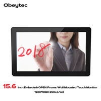 Obeytec 15.6 16:9 Industrial Projected Capacitive PCAP Open Frame Touch Screen LCD Monitor, 10 Point, 3mm Vandal Proof Glass