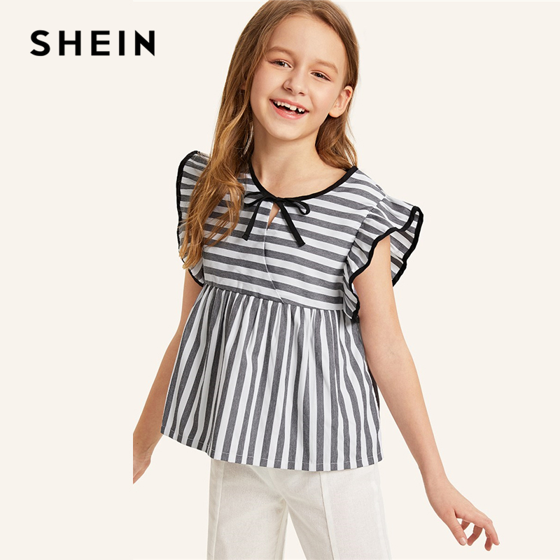 SHEIN Kiddie Girls Tie Neck Ruffle Trim Striped Cute Peplum Top Children 2019 Summer Butterfly Sleeve Wrap Casual Blouse Shirts plus knot open back ruffle trim bodysuit
