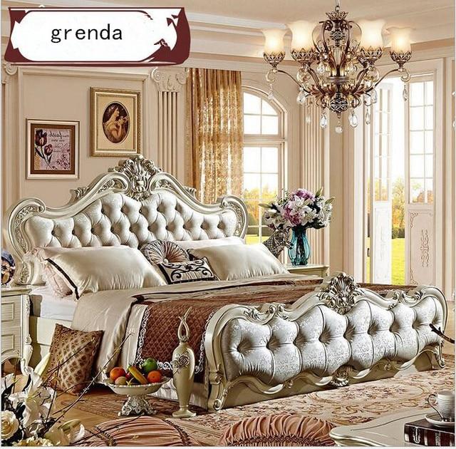 US $1850.0 |Di lusso in stile europeo, doppia in legno massello mobili  camera da letto francese neoclassico letto 1.8 metri supporto  personalizzato in ...