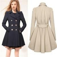 2015 Women S Autumn Slim Trench Winter Double Breasted Coat Turn Down Collar Long Warm Overcoat