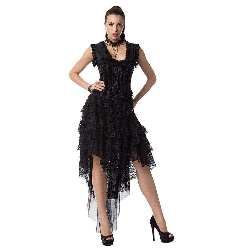 Steampunk robes victoriennes femmes été noir dentelle sans manches volants rétro Robe Robe Punk gothique noir longue Robe pour la fête