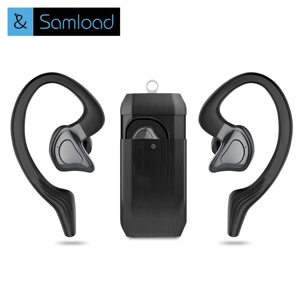 Samload Twins True Bluetooth inalámbrico auricular TWS deportes Dual Mini auriculares Earhook auricular con portátil con Mic y caja cargador