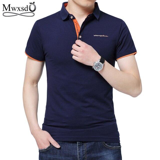 04c002716 Mwxsd Camisa Polo Ocasional Homens Moda Carta Imprimir-Manga Curta Polos  dos homens Marca de