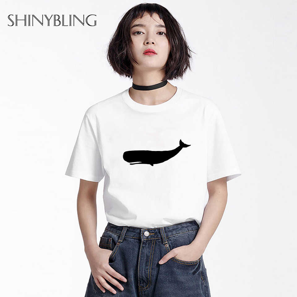 6a671dab645 Shinybling Plus Size Clothing Women Cute Whale Print Tee Shirt Ulzzang  Harajuku Style Unisex Couple T