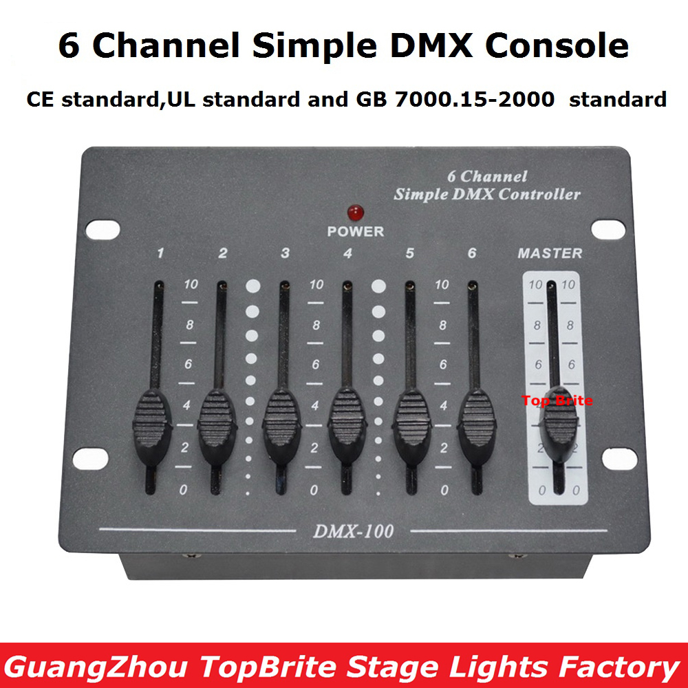 New Arrival 6 Channel Simple DMX Console Stage Lighting Disco Equipments Controller For Led Moving Head Spotlights Dj controller