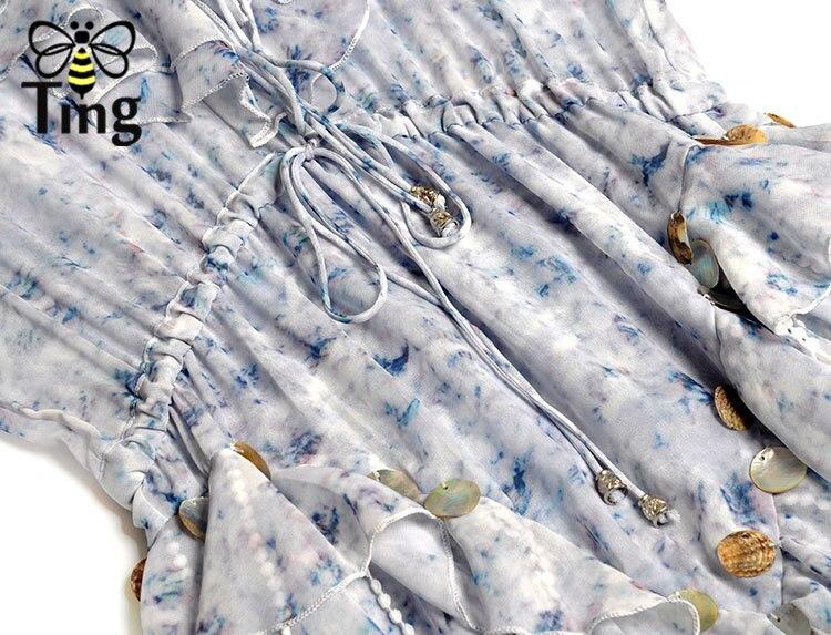 Tingfly Neue Saison Runway Designer Lace Up v ausschnitt Rüschen Maxi Kleid Party Nacht Kleider Luxus Stil Floral Quaste Lange vestido - 6