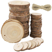 10 Pcs Unfinished Natural Wood Slices Round Log Discs for DIY Arts & Crafts Rustic Wedding Ornaments Home Hanging Decorations