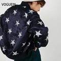 VOGUE! N Das Mulheres Novas Estrelas Da Moda Bordado Irregular Yokosuka Sukajan Bombardeiro Casaco Jaqueta Outerwear Marinha