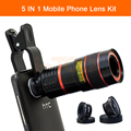 2017 Camera Lenses Kit 8X Zoom Telephoto Telescope Lens Fisheye Wide Angle Macro Lentes Clips For iPhone 6 6s 7 Plus Cell Phone