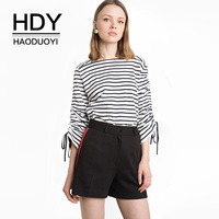 HDY Haoduoyi 2017 Autumn Long Sleeve T Shirts Black And White Striped Lace Up Shirts Casual