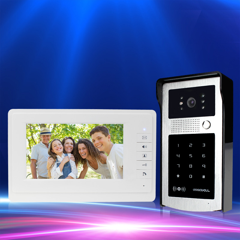 RFID color video door phone intercom system 7inch monitor screen with IR COMS outdoor camera with password panel fast shipping 4 3 hd rfid color video intercom system video door phone with ir coms outdoor camera doorbell 125khz id card for home office