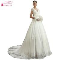 A Line Short Sleeves Lace Style Vintage Court Train Long Ivory Wedding Dresses V Neck Simple Bride Dress