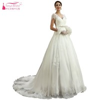 A Line Short Sleeves Lace Style Vintage Court Train Long Ivory Wedding Dresses V Neck Simple