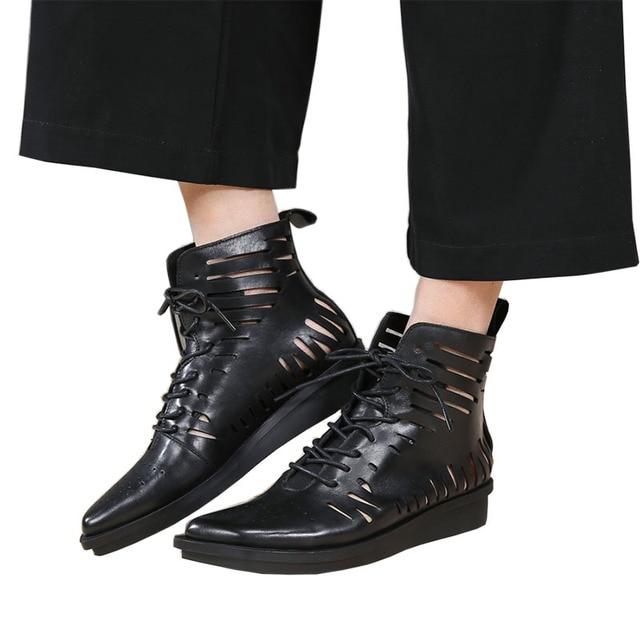 20e7905601bd9 2018 VALLU Summer Women Boots Flat Platform Genuine Leather Lace Up Hollow  Out Black Plus Size Ankle Boots Ladies Sandals