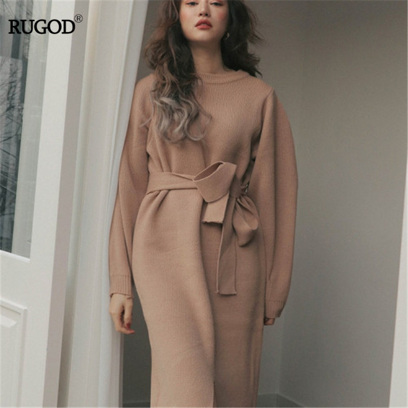 RUGOD 2019  Korea Women Female O-neck Solid Pink Split Bow Empire Waist  Slim Lady  Dresses Knitted Vestidos Casual Lady