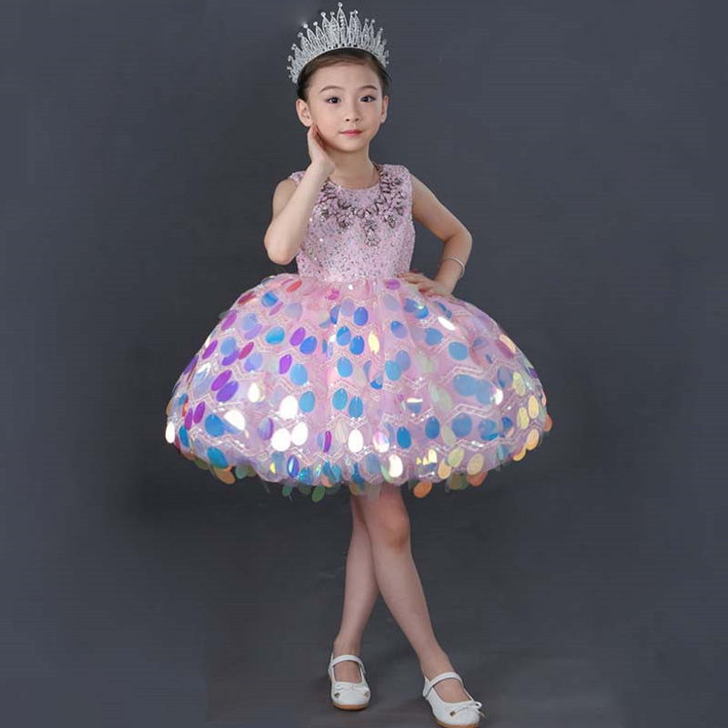 купить Sleeveless Girls Dress Ball Gown Wedding Party Dresses Sequined Flower Girls Costume First Communion Dress Kids Clothes JL35 по цене 10228.97 рублей
