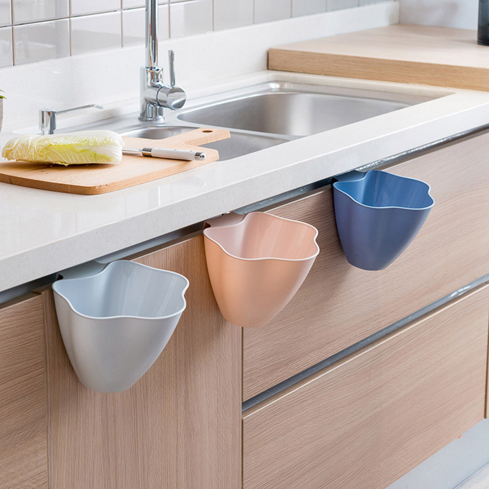 Kitchen Cute Cabinet Door Bin Hanging Trash Can Garbage Rubbish Can Container Cabinet Mini Plastic Table Waste Trash Container