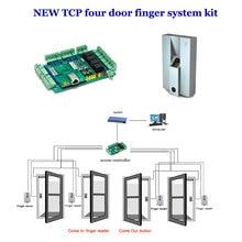 TCP  four door access controller system kit. comprises four Door controller,exit button , Finger reader,finger scanner etc.