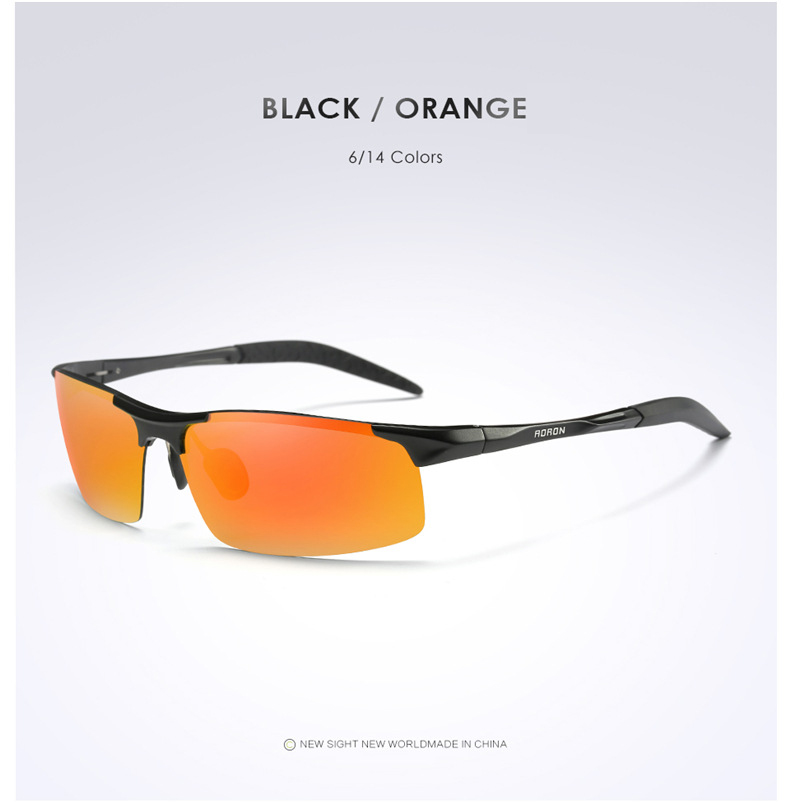 AORON Driving Polaroid Sun Glasses Aluminum Frame Sports Sunglasses Men Polarized Driver Retro UV400 Anti-glare Goggles 9