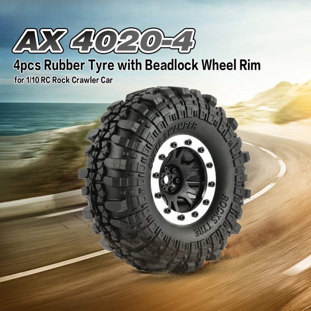 4pcs AX 4020-2 110mm 1.9in Rubber Tire with Alloy Beadlock Wheel Rim for AXIAL SCX10 90046 RC4WD D90 1/10 RC Rock Crawler Cars 2pcs 2 2 metal wheel hubs for 1 10 scale rc crawler car nv widen version outer beadlock wheels diameter 64 5mm width 43 5mm