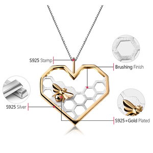 Image 5 - Lotus Fun Real 925 Sterling Silver Fine Jewelry Honeycomb Home Guard 18K Gold Bee Love Heart Pendant without Chain for Women