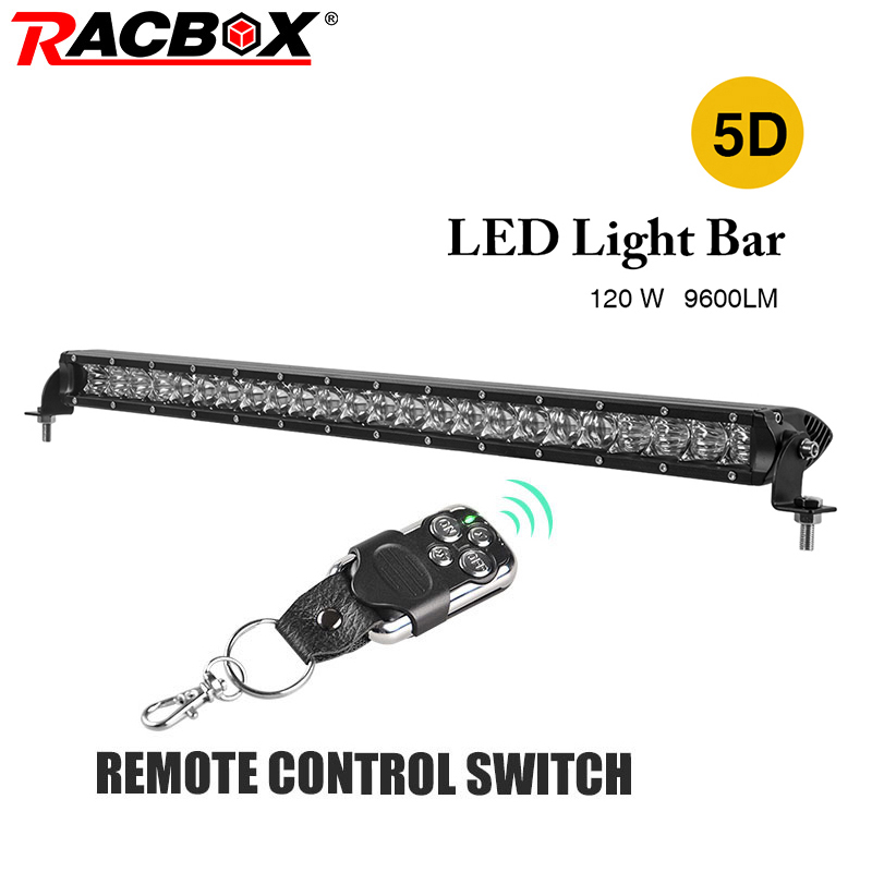 RACBOX 26 inch 120W 5D LED Work Light Bar Single One Row With LED Chips Combo Beam Straight Bar For Jeep Automobile SUV Offroad