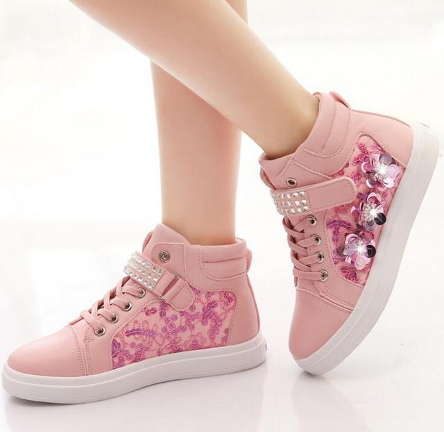 Aliexpress Com Buy 2017 Spring New High Top Girls Shoes