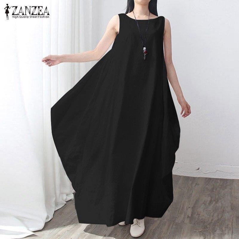 ZANZEA Women 2018 Summer Fashion Vintage Elegant Solid Sleeveless Dress Linen Casual Loose Long Maxi Dresses Vestidos Oversized
