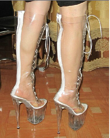 extreme high heel women sexy 20cm high heels clear pvc knee high boots summer zipper at back. Black Bedroom Furniture Sets. Home Design Ideas