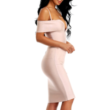 INDRESSME 2017 New Arrived Summer Sexy Bandage Women Dress Club Solid V Neck Spaghetti Strap Knee Length Sleeveless Lady Dress