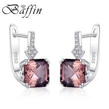 BAFFIN Real 925 Sterling Silver Stud Earrings Fine Jewelry Natural Morganite Stone Earrings For Women Vintage Retro Jewelry 2018