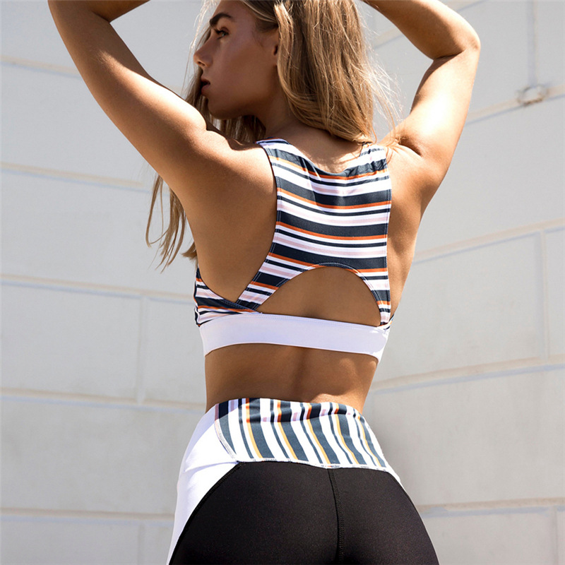 Summer Hot Selling New Quick Dry Tracksuit Women Sexy Backless Hollow Out Yoga Set Stripe Slim Hip Push Up Patchwork Fitness Set