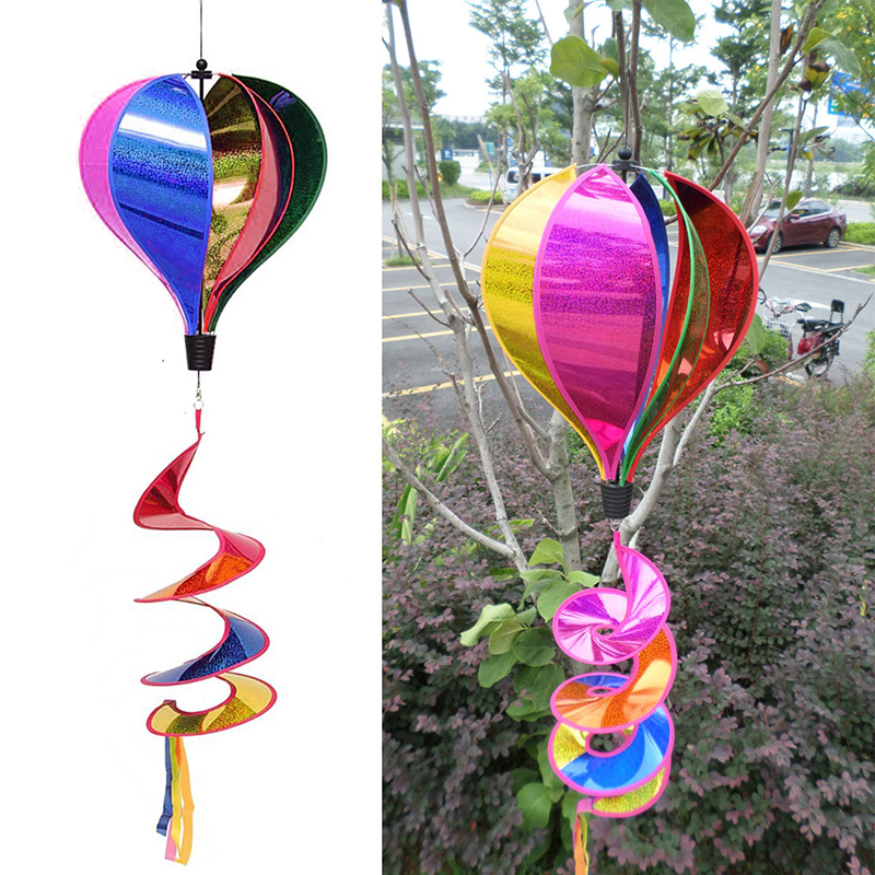 Hot Air Balloon Wind Spinner Rainbow Sequins Windsock Striped Outdoor Yard Decor MAY22