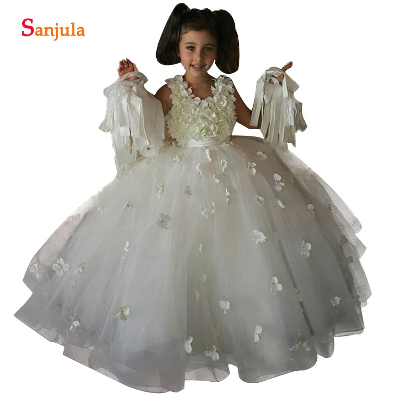 Floral   Flowers     Girl     Dress     Flowers   Bodice Ball Gown Puffy Tulle Children Birthday Party   Dresses   Kids Wedding Long   Dress   SF001