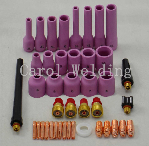 Free shipping TIG Gas Lens KIT 1 pcs Super Long Alumina Nozzle ,Back Cap Collet Body Fit TIG Welding Torch SR WP9 20 25,42PK  free shipping 51pk tig kit
